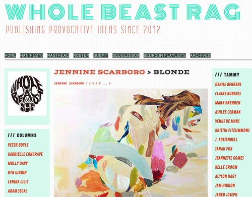 paintings by Jennine Scarboro in Whole Beast Rag
